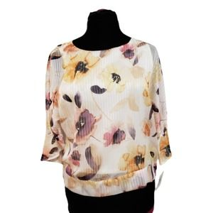 NWT Ellen Tracy Painted Poppy Bell Sleeve Top S